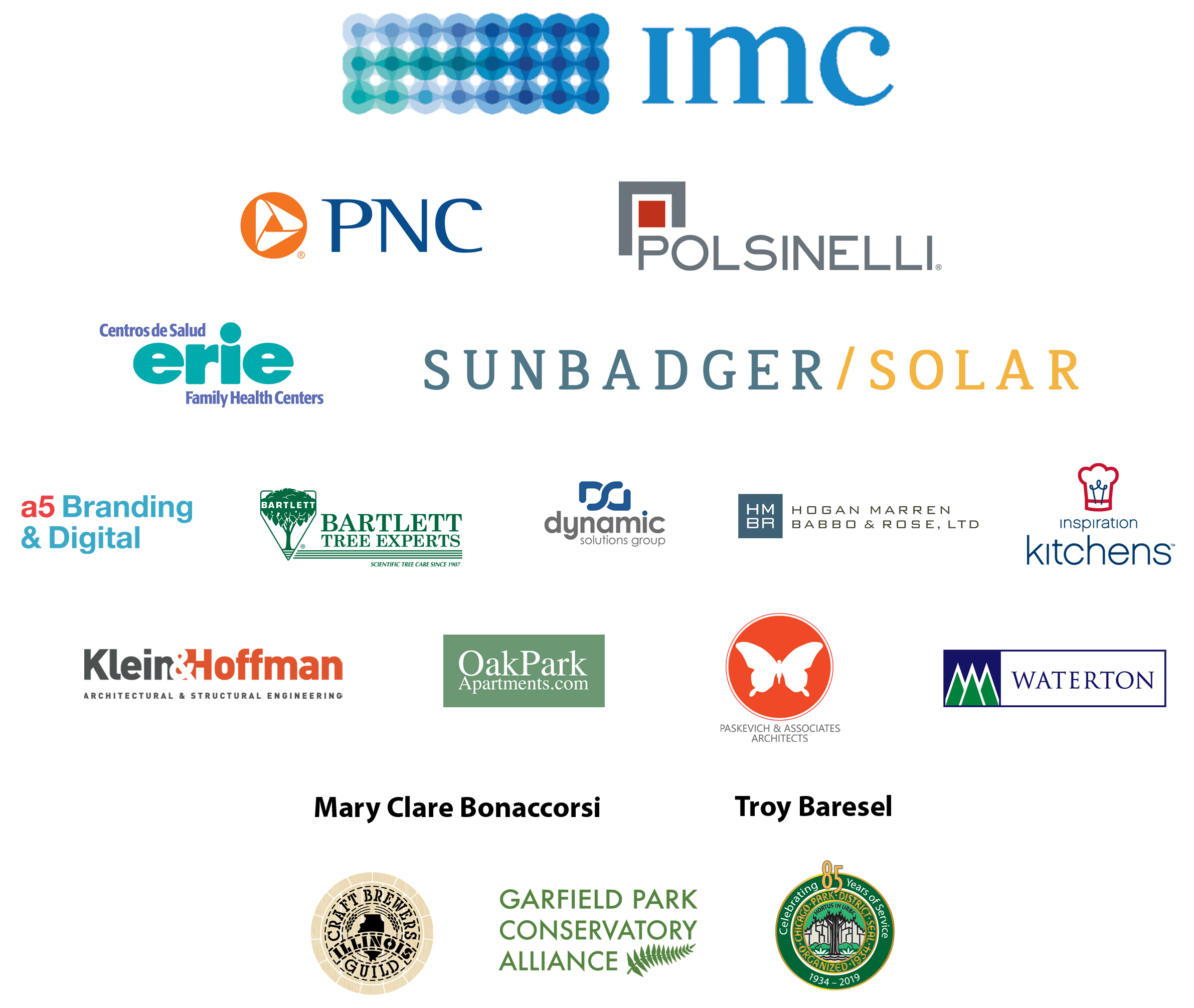 imc, polsinelli, pnc, erie family health centers, sun badger solar, a5, bartlett tree experts, dynamic solutions group, hogan marren, klein and hoffman, oak park apartments, paskevich and associates, waterton