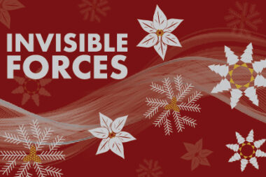 Maroon background with the text Invisible Forces and six pointed snowflake flowers in silver and gold
