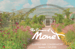 Graphic of Monet Garden with flowers and Conservatory in the background
