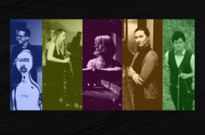 A photo collage of the 5 musicians of the group, Lakeshore Rush. Each photo is a different color: blue, green, purple, yellow and green. Each musician is holding or playing an instrument.