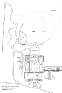 This image is a map of the indoor and outdoor campus of Garfield Park Conservatory. There are many paths indicated for walkways and two grayed out boxes showing that the Children's Garden and the Jensen Room are closed.