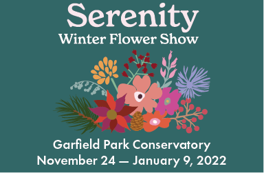 """The Serenity hero image is on a dark green background with a grouping of various flowers, branches, pine cones, and leaves. The text says """"Serenity Winter Flower Show"""" and """"Garfield Park Conservatory November 24-January 9, 2022"""""""